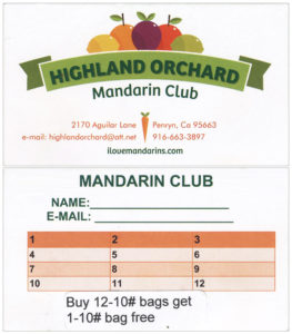 Highland Orchard Mandarin Club Card